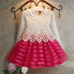 Wholesale Crochet Dresses 5t - 2017 Summer Dresses Kids Party For Girl Dress Children Girls Clothes 2-6Y Long Sleeve Crochet Lace Tutu Princess Vetement Fille