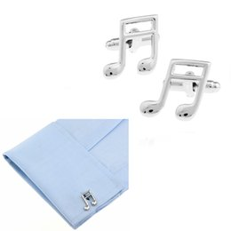 Wholesale Musical Sleeve - Novelty Musical Symbol Semiquaver Designer Cufflinks Steel Plated Cuff Link Sleeve Nail Men Shirt Dress Party Wedding Christmas Gift