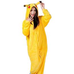Wholesale Men Footed Pajamas - Anime Cosplay Pikachu Sleepwear Regino Knitting Adult Footed Girls Pajamas 2016 Carnival Halloween Costume for Women 2XL