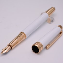 Wholesale Golden Barrel - Luxury Writing Ink Pen 163 High Quality Best Design Pure White Barrel Golden Silver Clip Fountain Pen