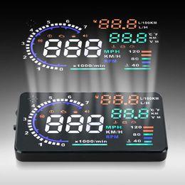 Wholesale Obd Fuel Consumption - A8 5.5 inch OBD II OBD 2 Car HUD Head Up Display with Speed Fatigue Warning RPM MPH Fuel Consumption 130734901