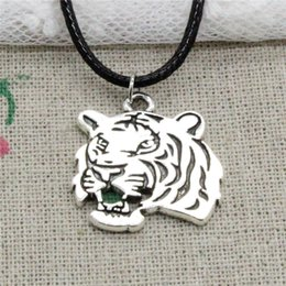 Wholesale Tiger Head Fashion Necklace - 15pcs New Fashion Antique Silver Charms roaring tiger head 27*24mm Pendant Necklace Black Leather Cord Hand made Jewlery Necklace