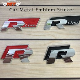Wholesale carbon sample - Hot selling 1pcs 10pcs high end original sample Car R R LINE Emblem Word Sticker Trunk Emblem Logo Decoration 3D Metal Car styling