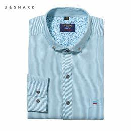 Wholesale Wholesale Mens Striped Shirts - Wholesale- Stylish Slim Fit Blue Striped Shirt Men Long Sleeve Social Camisa Masculina U&Shark Quality Mens Dress Shirts Cotton Chemise