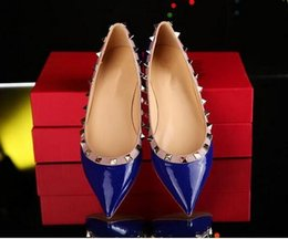 Wholesale hot pink patent heels - Hot Brand Design Stylish Woman Pointed Patent Leather Shoes With Flat Shoe Party And Daily Flat Shoes Women Ladies Dress Shoes