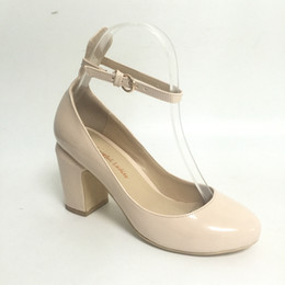 Wholesale Real Leather Ballet Flats - Beige High Heels Wedding Shoes Bride Chunky Heels Round Toe Ankle Straps Bridal Shoes Real Photo Pump Custom Colors Plus Size EU34-46