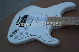 Wholesale Floyd Rose White - Factory custom shop 2015 Newest Custom ST white 5 star inlay Electric guitar with Floyd Rose Tremolo!!! Free shipping (hai 4