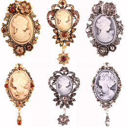 Wholesale Victorian Brooches - 6 Styles Vintage Inspired Elegant Crystal Rhinestone Victorian Lady Cameo Brooch Pin Maiden Flower Ribbon Pendant Free DHL B533S