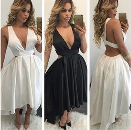 Wholesale open lower back short dress - White Black Plunging Deep V Neck Sleeveless Asymmetrical Cocktail Party Dresses Satin High Low Open Back Semi Homecoming Prom Gowns 2017