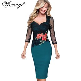 Wholesale Embroidered Evening Mother Dress - Wholesale- Vfemage Women Embroidered Floral See Through Lace Party Evening Bridemaid Mother of Bride Special Occasion Embroidery Dress 3198