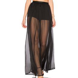 Wholesale Transparent Maxi Skirt - Women Tulle Maxi Long Skirts Black Transparent High Waist Design Elastic Belt 2017 Summer Beach to Bar Clothes Tunic Jupe