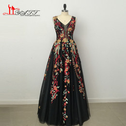 Wholesale Special Occasion Floral Gown - Vintage Saudi Arabia Formal Evening Dresses 2017 3D Floral Lace Print Tulle Long Prom Dress Special Occasion Gown
