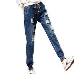 Wholesale Womens Harem Jeans - Wholesale- BF Style Elastic Waist Vaqueros Mujer Solid Plus Size Ripped Jeans with Hole Winter Ladies Denim Pants S-5XL Harem Jeans Womens
