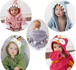Wholesale Toddlers Bathrobes Girls - 2017 Kids Animal Bathrobe Toddler Girl Boy Baby Cartoon Pattern Towel Hooded Bath Towel Terry Wrap Bath Robes 18 styles