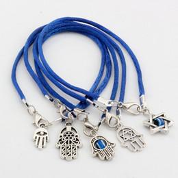 Wholesale Fashion Luck Bracelets - Hot ! 100pcs Fashion Antique silver Zinc Alloy Mixed Kabbalah Hand Charm Blue String Good Luck Bracelets