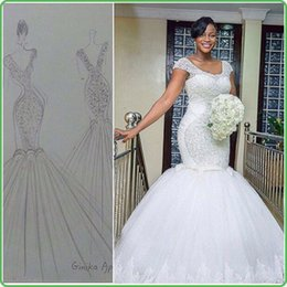 Wholesale Bridal Dresses Handwork - New Arrival South African Wedding Dresses Handwork Lace Mermaid Bridal Wedding Gowns Custom Plus Size Black Girl Bride Dress Rode De Mariage