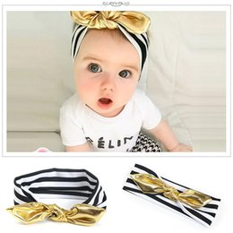 Wholesale Blending Stamp - New Baby Girls Gold Stamp Bunny Ear Headbands Children Kids Hair Accessories Cotton Striped Headbands for Girls Headwear KHA538