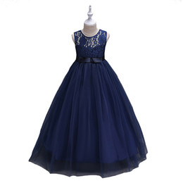 Wholesale Navy Bow Girl - Cute O-neck Flower Girls Dresses Navy Blue Tulle With Bow A-line Kids Pageant Birthday Party Dresses Robes Filles Fleur For Wedding
