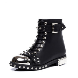Wholesale Lace Up Studded Boots - Fashion Catwalk Studded Buckle Rivet Ankle Boots Metal Decoration Cross Tied Zippered Leather Women Booties