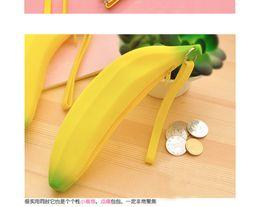Wholesale X Men Wallet - Wholesale- 1 X Kawaii Unisex Men Women Girls Novelty Silicone Portable Banana Coin Pencil Case Purse Bag Wallet Pouch Keyring ACP339