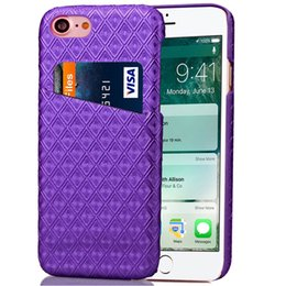 "Comprobar teléfono celular online-Luxury Diamond Check Pattern Pattern Slot Estuche rígido para móvil para iPhone 6 6s 7 Plus Samsung S7Edge 4.7 ""-5.5"" Estuche protector de piel para teléfono celular"