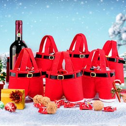 Wholesale Candies Bottles - Merry Christmas Gift Bag Wine Bottle Cover Bag Cute Candy Pouch Red Santa Pants Gift Bags for Wedding New Year