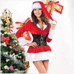 Wholesale Santa Dress Adult - New Arrival Hot sale Women Sexy Velent Christmas Santa Costume Adult Outfit Women Fancy Dress Attract