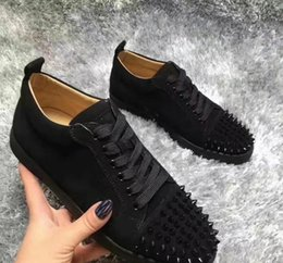 Wholesale Studs Sneaker - Luxury Designer 2016 Brand men sneakers Spikes Red Bottom Flat Casual Shoes Men Low Top Red Sole Studded Black Studs Rivet Male Casual Shoes
