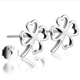 Wholesale Cute Rhinestone Cross Earrings - 10pairs Stamped silver plated stud earrings Cute heart hollow clover Stud pierce earrings for women girl lowest factory price