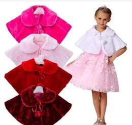 Wholesale Princess Cloak Coat - Girls Cape Bowknot Girls Plush Faux Fur Winter Shawl Kids Princess Cloak Wedding Outerwear Coat Warm Girls Tippet Kids Party Jacket J445