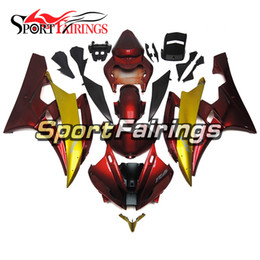 Wholesale Yamaha R6 Gold - Complete Fairings For Yamaha YZF600 YZF R6 06 07 YZF-R6 2006 2007 Injection ABS Motorcycle Fairing Kit Motorbike Covers Red Gold New