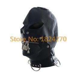 Wholesale Erotic Costumes Men - ex toys plug Unisex Faux Leather Monster Fetish Mask Sexy Head Bondage Hood Mouth Zipper Mask Black Erotic Lingerie Halloween Scary Costu...