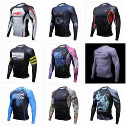 Wholesale Yellow Thermal Shirt - Muscle Men 3D Prints Compression Shirts T-shirt Long Sleeves Thermal Under Top MMA Rashguard Fitness Base Layer Weight Lifting
