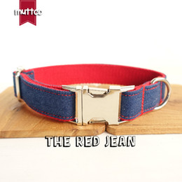 Wholesale Good Medium Size Dogs - MUTTCO retailing special fresh fashionable good quality self-design jean canvas stripe dog collar THE RED JEAN 5 sizes UDC018