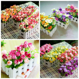 Wholesale Wholesale Wooden Flower Vases - Wholesale-1 set Wooden fence vase + flowers rose and Daisy artificial flower set silk flowers home decoration Birthday Gift