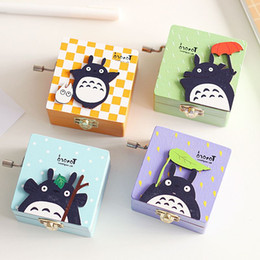 Wholesale Hand Crank Music - Japan Hayao Miyazaki Totoro Creative color patch with wooden hand-cranked music box with mirror
