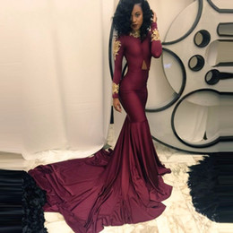 Wholesale African Lace Wears - Sexy African Burgundy Prom Dresses Mermaid Long Sleeve Gold Appliques Chapel Train Formal Occasion Party Dresses Evening Wear Real Photo