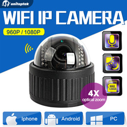 Wholesale Dome Wireless Ptz Ip Camera - Wireless Speed Dome PTZ IP Camera Wifi HD 1080P 960P Auto Focus 4XZoom 2.8-12mm Indoor Audio SD Card IR Onvif P2P APP