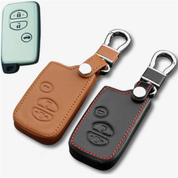 Wholesale Car Cover Camry - Car Genuine Leather Remote Control Car Keychain Key Cover Case For Toyota Camry Crown Prado Smart Key S36