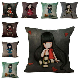 Wholesale Wholesale Sofa Sets Covers - Lonly Little Girl pillow Cover Case Cushion cover linen cotton Throw Pillowcase Cover Home sofa waist pillowslip bedding sets