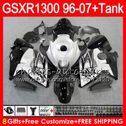 Wholesale Hayabusa Fairing Injection - 8Gifts 23Colors For SUZUKI Hayabusa GSXR1300 96 97 98 99 00 01 15HM12 GSXR 1300 GSX R1300 GSXR-1300 02 Silver black 03 04 05 06 07 Fairing