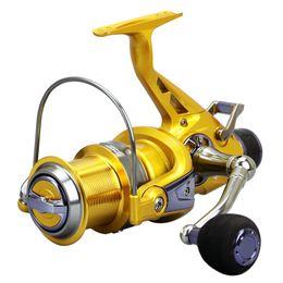Wholesale Cnc Wheels - Aluminum Spool CNC Metal Handle 11BB Bearing Double Drag Fishing Reels To Spinning 5000 6000 Salt Water Fishing Reel Wheel 5.2:1