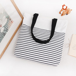 Wholesale Zippered Tote Wholesale - Wholesale- YILE Cotton Canvas Shopping Tote Shoulder Carrying Bag Eco Reusable Bag Zippered Small Stripe E168