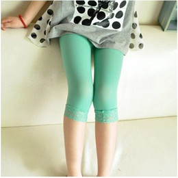 Wholesale Green Lace Leggings Baby - Baby Girls Velvet Lace Tights Thin Pants Summer Leggings children Cropped Pants free shipping in stock