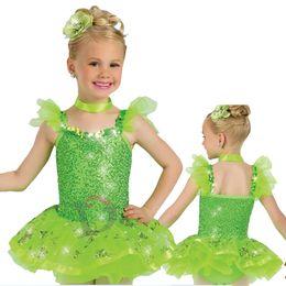 Wholesale Jazz Costumes For Girls - NP036 girls ballet tutu dresses shiny costums for jazz dance costume wholesale green girls jazz costumes