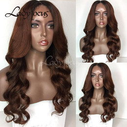 Wholesale Long Reddish Brown Hair - Lady Focus Full Lace Human Hair Wigs Reddish Brown Ombre Two Tone Natural Wave Lace Front Wig Bleached Knots With Baby Hair