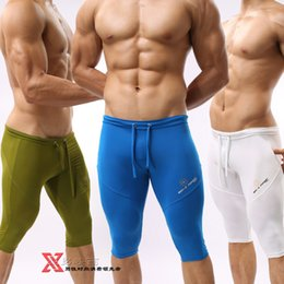 Wholesale Silk Jersey Wholesale - Wholesale- Tight ice silk soft material Men home leisure Bicycle casual Men's knee-length pants CZ901