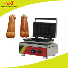 Máquina para el pene online-110 V 220 V Eléctrico 4 unids Fabricante de Galletas de Penis Taiwán Taiyaki Máquina Lolly Waffle Maker Máquina Hot Dog Waffle Machine Hot Dog Muffin Maker