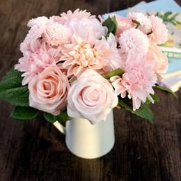Wholesale Decorative Vase Floor - Wholesale- Hot Sale Rose&Dahlia&Daisy Bouquet Posy Decorative Artificial Silk Flowers Wedding Flower Fake Plants Home Decor(without vase)