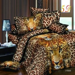 Wholesale Cotton Leopard Sheets - Wholesale-Home Textiles 3D Bedding Sets Cotton Leopard Grain Rose Panther Queen 4 Pcs Duvet Cover Bed Sheet Pillowcase Bedclothes